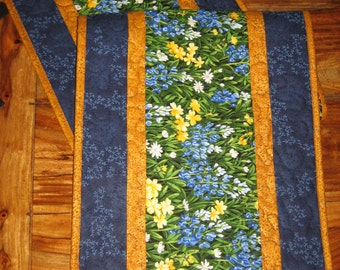 Blue and Yellow Flowers Quilted Table Runner, Texas Wildflower Runner, Reversible Table runner 14 x 47""