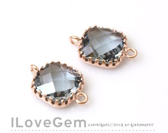 P106 Rose Gold plated, Black Diamond, Charcoal, 9mm Square, Glass connector, 2pcs