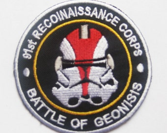 STAR WARS Red Clone Trooper Head Battle of Geonosis Patch Badge