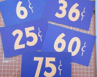 Vintage Large Store Price Tags set of 5  Lot 37
