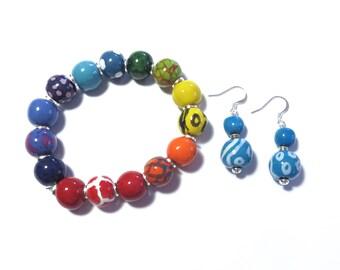 Beaded Bracelet, Kazuri Bangle, Fair Trade, Ceramic Jewellery,  Rainbow Coloured Bracelet, Turquoise Coloured Earrings