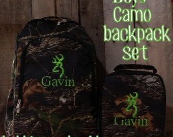 Boys Monogrammed Woods Camo Backpack and Lunch Box Set INCLUDES MONOGRAM