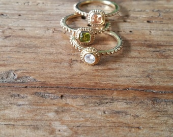 Stackable gold plated ring set with genuine gemstones - size 6