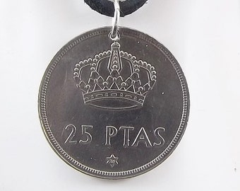 1975 Spanish Coin Necklace, 25 Pesetas, Coin Pendant, Leather Cord, Mens Necklace, Womens Necklace, Vintage