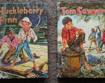 Vintage Whitman Classics Tom Sawyer & Huckleberry Finn Books 1955 Editions