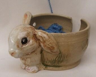 Bunny Yarn Bowl Rabbit Stoneware Yarn Bowl