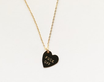 F*CK OFF Heart Charm Necklace