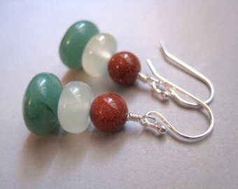 Gemstone Stack Earrings, Aventurine Earrings, Jade Earrings, Sunstone Earrings, Sterling Silver Earrings, Modern Stone Earrings