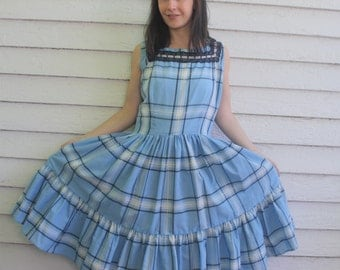 Plaid Patio Dress Country Square Dance Western Blue Full Skirt Faye Creations Plus Size