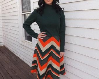 Mod Chevron Dress Green Striped 70 Retro Vintage Long Sleeve 1970s S