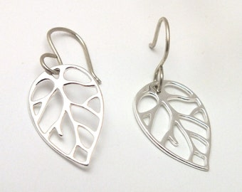 Leaf Sterling Silver Earrings, Leaf Cut Out Earrings