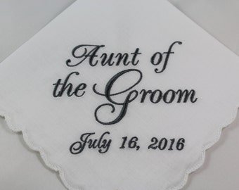 Aunt of the Groom - Embroidered Handkerchief - Wedding Gift - Simply Sweet Hankies