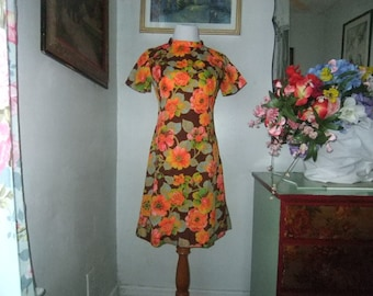 1970's Polyester Floral Dress