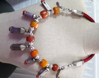 RARE Vintage Morocco Berber silver Fibula caps pendants with real coral beads, sterling silver beads and amber beads