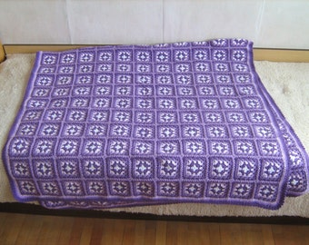 Granny square afghan blanket, handmade, colorful, patchwork, crochet, wrap, cover, purple, light, warm and cozy