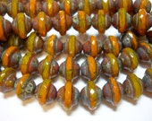 26 7mm Czech Glass Yellow and Mango Travertine Faceted Saturn Saucer Beads