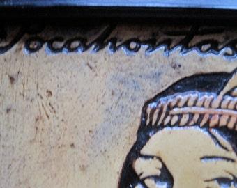 Vintage Pocahontas Wood Burning Etching