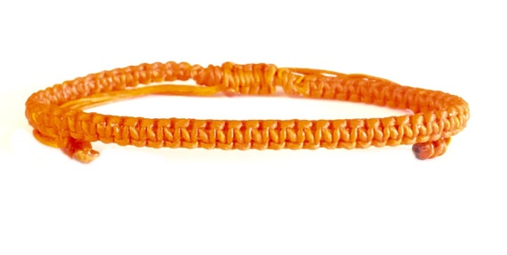 Classic Orange FRIENDSHIP Cotton Fair Trade Thai Buddhist Wristband BRACELET Handcrafted Wristwear