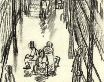 In the BART, San Francisco. Original Charcoal Drawing, 8x11 inch Sketch, Urban Bay Area Subway Drawing, Signed Original Urban Fine Art