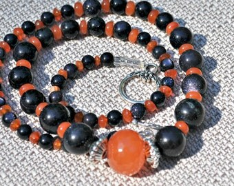 Flame Orange Navy UVA Auburn Jade Necklace