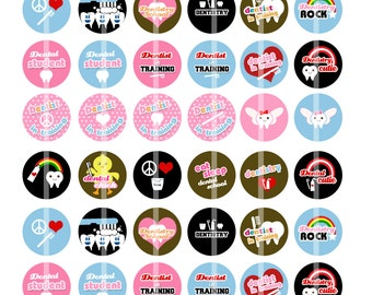 NEW - Dental School - Dentist in Training - 1 inch Round -  Unique Digital Collage Sheet for  Pendants, Badges, Cupcake toppers and more