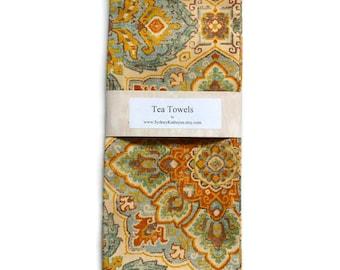 Tea Towels, Aqua, Rust, and Gold,  Southwestern Colors, Dish Towels, Set of 2, Decorative Kitchen Towels
