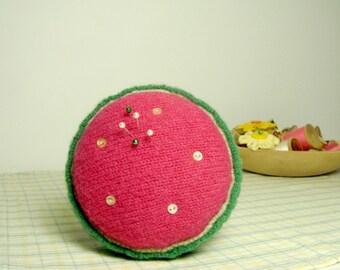 Watermelon Pincushion Handmade Pink Green Wool OOAK