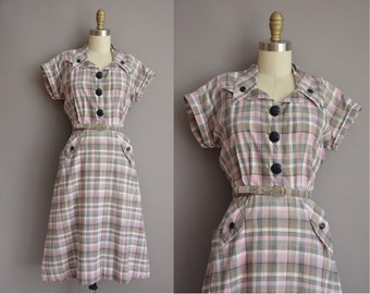50s pink and gray plaid cotton vintage dress by Nancy Frock / vintage 1950s dress