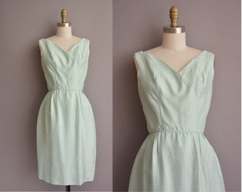 50s vintage mint green silk wiggle dress / vintage 1950s dress