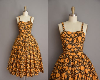 1960s golden floral cotton vintage dress / vintage 1960s dress