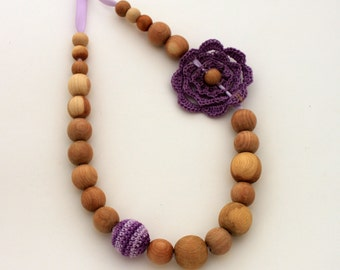 Dark Lavender Nursing Necklace / Teething necklace / Flower Necklace