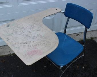 Vintage Retro Mid Century School Writing Desk Original Graffiti Electric Blue and Chrome