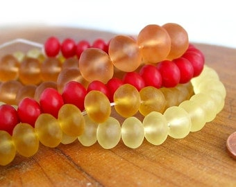 """7""""  8mm 10mm Yellow - Amber - Red - Peach - semi faceted rondelle sea beach glass beads frosted recycled matte - PICK Color / Size"""