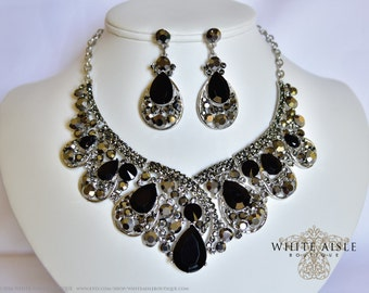 Black Bridal Jewelry Set, Crystal Statement Necklace Earrings, Vintage Inspired Rhinestone Necklace, Wedding Jewelry
