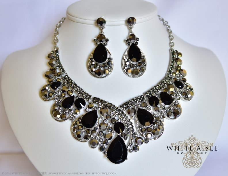 black bridal jewelry set statement necklace earrings