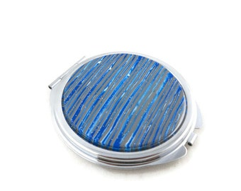 Compact mirror polymer clay blue and gray stripes gift for mom