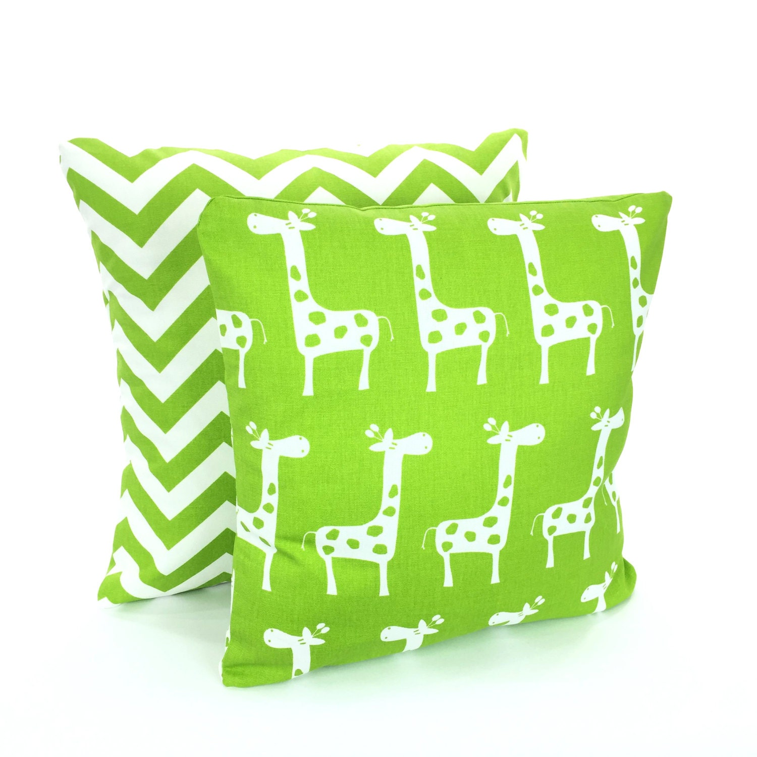 Green White Pillow Covers Decorative Throw by FabricJunkie1640