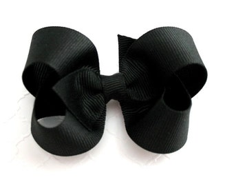 "Simple Basic Black 3"" Boutique Hair Bow ~ Halloween Hair Bow ~ School Uniform Hair Bow ~ Flower Girls Hair Bow ~ Toddler Girl Hair Bows"