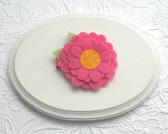 Toddler Felt Flower Hair Clippie, Hot Pink Flower Clip