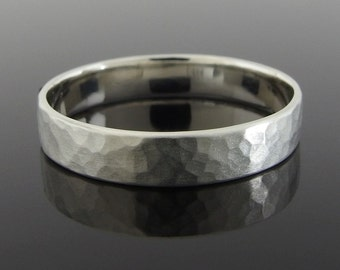 Hammered Sterling Silver Wedding Ring, Flat Profile Silver Wedding Band, Silver Wedding Ring, Sterling Silver Ring, Satin Finish, 4 mm, 5 mm