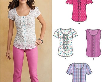 ON SALE New Look Top Pattern A6104 -  Misses' Button Front Scoop Neck Top In Four Variations - Sz 10 to 22 - New Look Patterns - Uncut