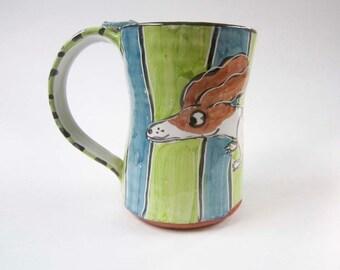Ceramic Coffee Mug - Brown White Piebald Dachshund Wiener Dog -  Green Blue - Majolica Mug - Pottery Clay Mug - 15 ounces oz - Cup