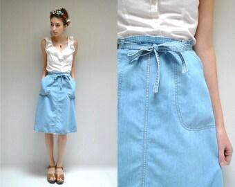 70s Wrap Skirt  //  Denim Midi Skirt  //  DENIM DREAM