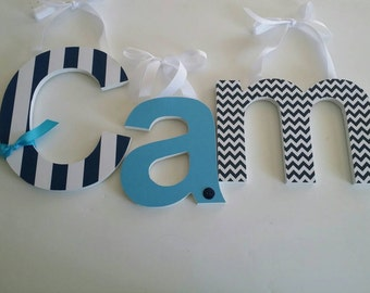 Wooden letters, Personalized Gift, GET THE BLUES Theme, Navy blue and Turquoise, Chevron, Dots, and Stripes, Nursery Wall Letters, Baby boy