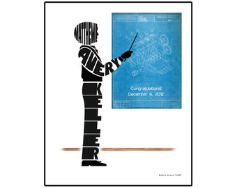 Personalized Male Mechanical Engineer Silhouette Print, 8x10 Name Art, Gift for Mechanical Engineer