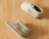vintage baby moccasins white leather fringe