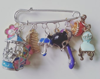 Mary Poppins, themed, kilt pin, brooch, merry go round, fox, umbrella, teaparty on the ceiling, bag, shoe, by NewellsJewels  on etsy