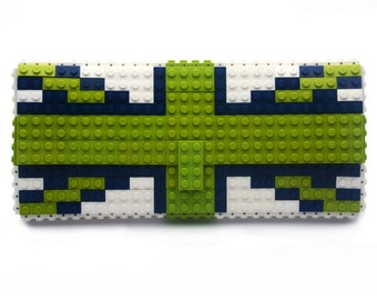 British flag clutch purse in lime, dark blue & white made with LEGO® bricks FREE SHIPPING purse handbag legobag trending fashion lego