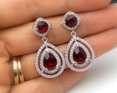wedding jewelry bridesmaid gift bridal earrings prom pageant christmas Clear white cubic zirconia deep red siam crystal teardrop circle post