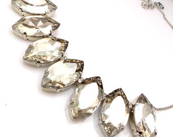 christmas Swarovski fancy rhinestone beautiful silver shade vintage navette marquise crystal rhinestone chunky bib statement silver necklace